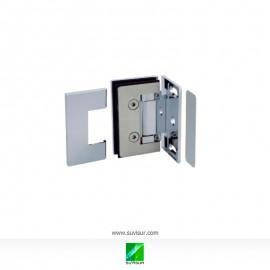 Bisagra simple desplazada pared-vidrio 90º 8-10 mm regulable y con tornillos ocultos