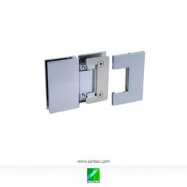 Bisagra doble vidrio-vidrio 180º 8-10 regulable y con tornillos ocultos.